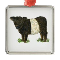'Beltie' Belted Galloway Metal Ornament