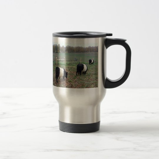Beltie Cow Herd Along a Trail Travel Mug