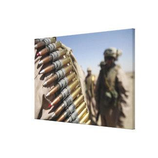 Belts of 50-caliber ammunition stretched canvas prints