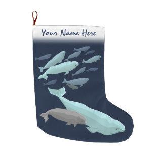 Beluga Christmas Stocking Personalize Beluga Whale Large Christmas Stocking
