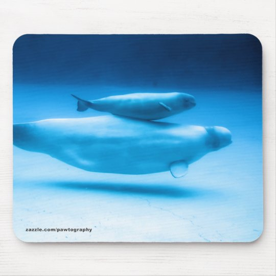 Beluga Mother and Baby Mouse Pad