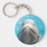 Beluga Whale Basic Round Button Keychain