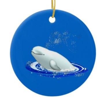 Christmas Themed Beluga Whale Christmas Ornament