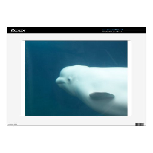 """Beluga Whale Decals For 15"""" Laptops"""