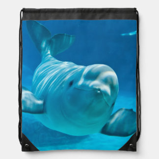 Beluga Whale Drawstring Bag