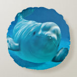 Beluga Whale Round Pillow