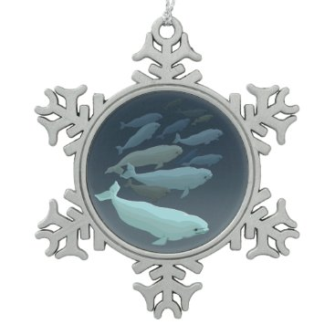 Christmas Themed Beluga Whales Ornament Personalized Whale Ornament
