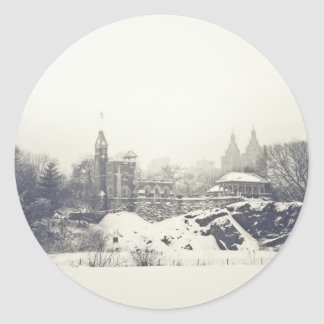 Belvedere Castle in the Winter in Central Park Classic Round Sticker