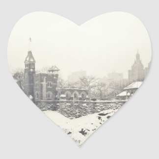 Belvedere Castle in the Winter in Central Park Heart Sticker