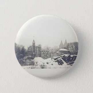 Belvedere Castle in the Winter in Central Park Pinback Button