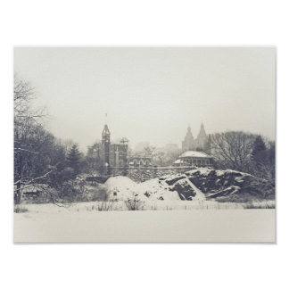 Belvedere Castle in the Winter in Central Park Poster