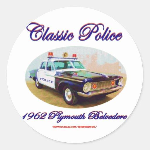 Belvedere clásico de Police1962 Plymouth Pegatina Redonda