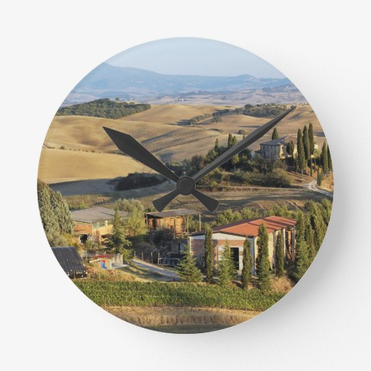 Belvedere House at sunset, San Quirico d'Orcia Round Clock