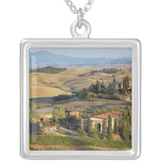 Belvedere House at sunset, San Quirico d'Orcia Square Pendant Necklace