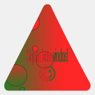 ¡Bem Vindos de Sejam! La bandera de Portugal Pegatina Triangular