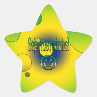 ¡Bem Vindos de Sejam! La bandera del Brasil Pegatina En Forma De Estrella