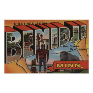 Bemidji, Minnesota - Large Letter Scenes Poster
