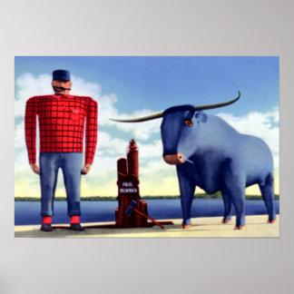 Bemidji Minnesota Paul Bunyan and Babe Poster