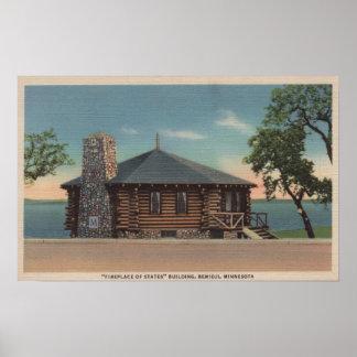 Bemidji, MN - View of Fireplace of States Bldg Poster