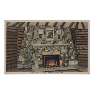 Bemidji, MN - View of the Fireplace of States Poster