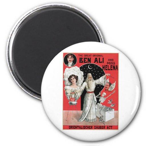 Ben Ali ~ Illusionist Magician Vintage Magic Act Magnet