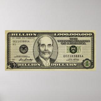 Ben Bernanke Billion Bank Note Print