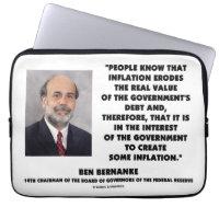 Ben Bernanke Inflation Erodes Real Value Govt Debt Computer Sleeve