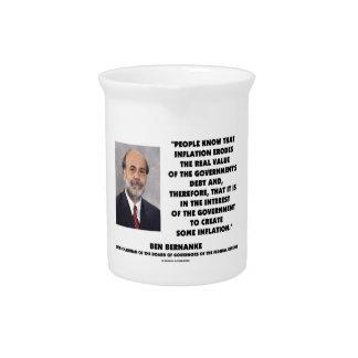 Ben Bernanke Inflation Erodes Real Value Govt Debt Drink Pitcher
