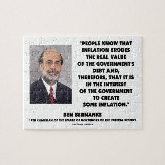 Ben Bernanke Inflation Erodes Real Value Govt Debt Jigsaw Puzzle