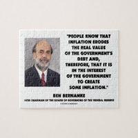 Ben Bernanke Inflation Erodes Real Value Govt Debt Jigsaw Puzzles