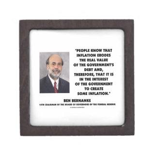 Ben Bernanke Inflation Erodes Real Value Govt Debt Keepsake Box