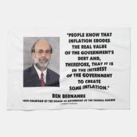 Ben Bernanke Inflation Erodes Real Value Govt Debt Kitchen Towels