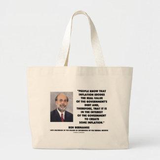 Ben Bernanke Inflation Erodes Real Value Govt Debt Large Tote Bag