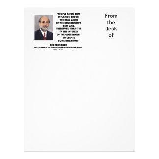Ben Bernanke Inflation Erodes Real Value Govt Debt Letterhead