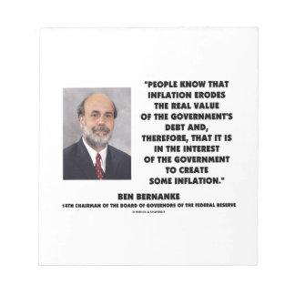 Ben Bernanke Inflation Erodes Real Value Govt Debt Notepad