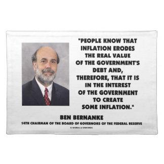 Ben Bernanke Inflation Erodes Real Value Govt Debt Placemat