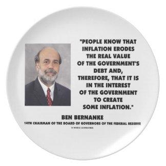 Ben Bernanke Inflation Erodes Real Value Govt Debt Plate