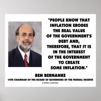 Ben Bernanke Inflation Erodes Real Value Govt Debt Poster