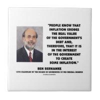 Ben Bernanke Inflation Erodes Real Value Govt Debt Small Square Tile