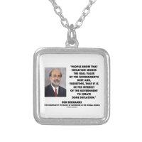 Ben Bernanke Inflation Erodes Real Value Govt Debt Square Pendant Necklace