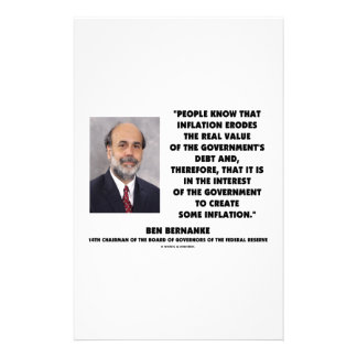 Ben Bernanke Inflation Erodes Real Value Govt Debt Stationery