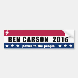 Ben Carson for President 2016 Power to the people Car Bumper Sticker