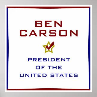 Ben Carson for President USA Poster