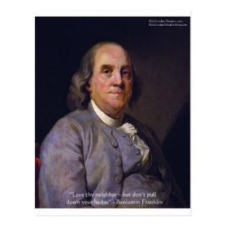 """Ben Franklin """"amor Thy Neibhbor pero."""" Regalos de  Postales"""