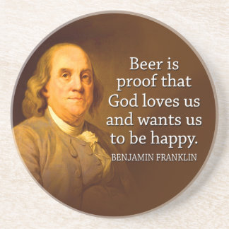 Ben Franklin Beer Quote Coasters