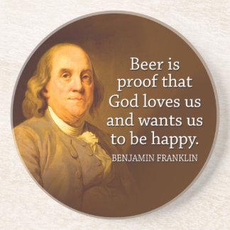 Ben Franklin Beer Quote Sandstone Coaster