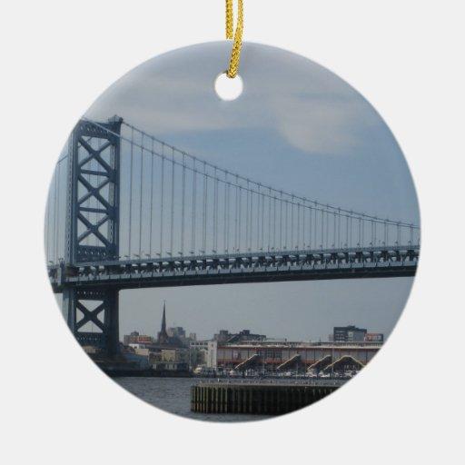 Ben Franklin Bridge Ceramic Ornament