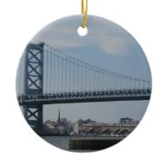 Ben Franklin Bridge Double-Sided Ceramic Round Christmas Ornament