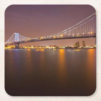 Ben Franklin Bridge Square Paper Coaster