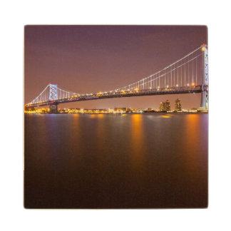 Ben Franklin Bridge Wooden Coaster